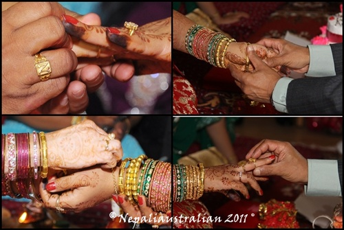 L-R My brother putting a ring, My dad putting bangles and ring, my sister in law puting bracelet