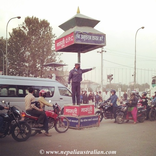 This is how traffic is controlled in Nepal