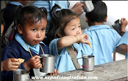 Children at one of the schools in Nepal