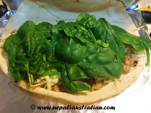 Chicken, cheese and spinach melt (2)