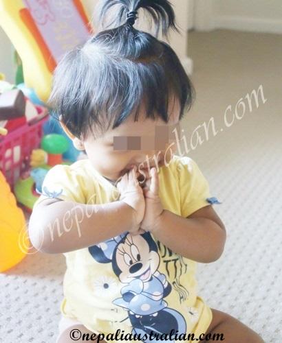 Her shy Namaste :)
